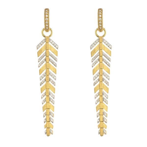 Lisse Long Pave Feather Earring Charms Mystique Jewelers Alexandria, VA