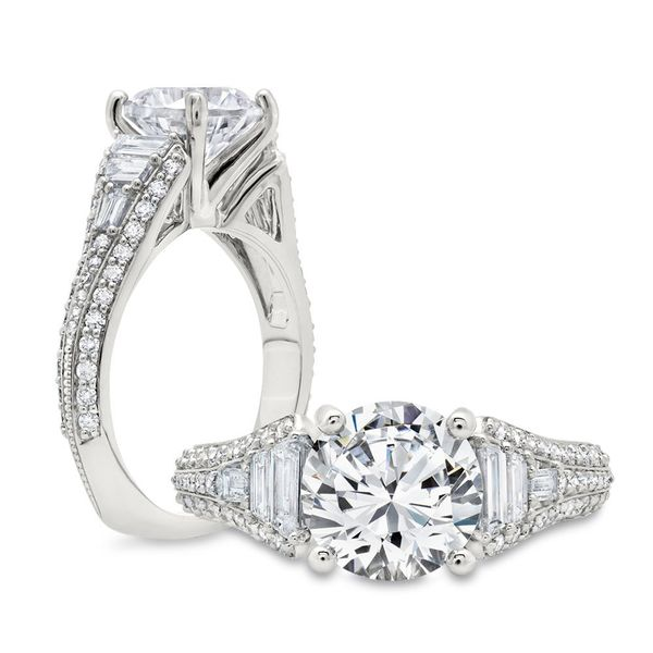 Diamond Engagement Ring with Trapezoid Baguettes Mystique Jewelers Alexandria, VA