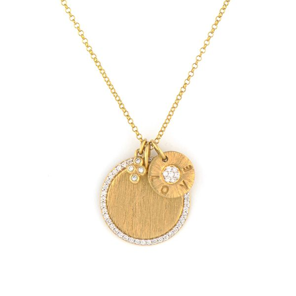 Provence Medium Pave Disc & Love Disc Engravable Pendant Mystique Jewelers Alexandria, VA