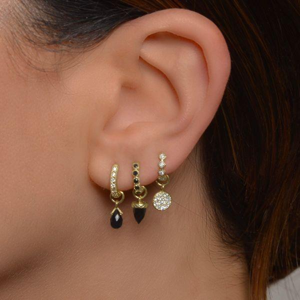 Petite Diamond Kite Hoop Earring Image 2 Mystique Jewelers Alexandria, VA