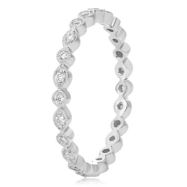 Milgrain White Gold & Diamond Eternity Band Mystique Jewelers Alexandria, VA