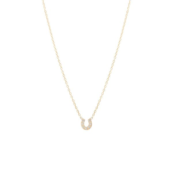 14k itty bitty pave diamond horseshoe necklace Mystique Jewelers Alexandria, VA