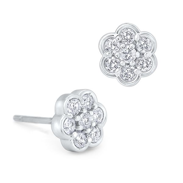 Gold and Diamond Floral Stud Earrings Mystique Jewelers Alexandria, VA
