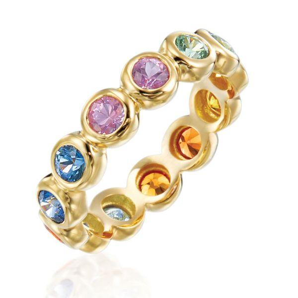18K yellow gold multi sapphire bezel set moonlight band Mystique Jewelers Alexandria, VA