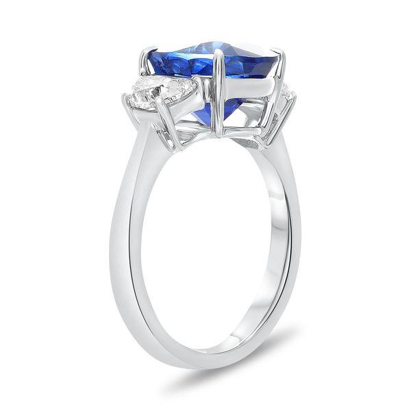 Platinum 3-Stone Oval Sapphire and Half Moon Diamond Ring Image 2 Mystique Jewelers Alexandria, VA