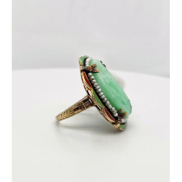Oval Carved Jade with Seed Pearls Image 2 Mystique Jewelers Alexandria, VA