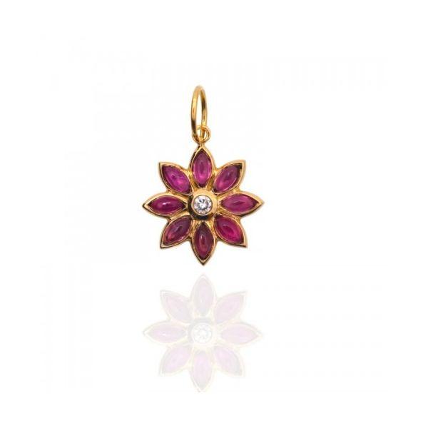 "LAWSON DAHL 18KT YELLOW GOLD PINK TOURMALINE AND DIAMOND ""DAHLIA"" PENDANT Mystique Jewelers Alexandria, VA"