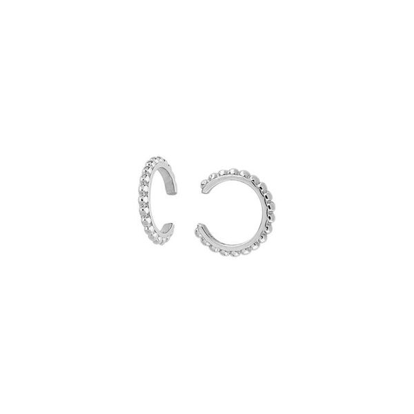 14K White Gold Beaded Ear Cuffs