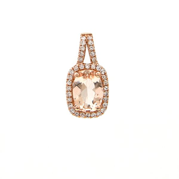 14 kt rose gold morganite and diamond necklace,