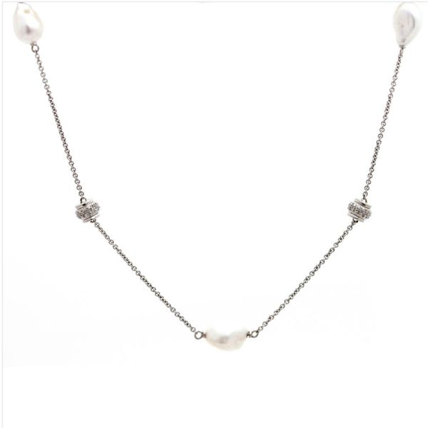 Sterling Silver Pearl and Diamond Necklace