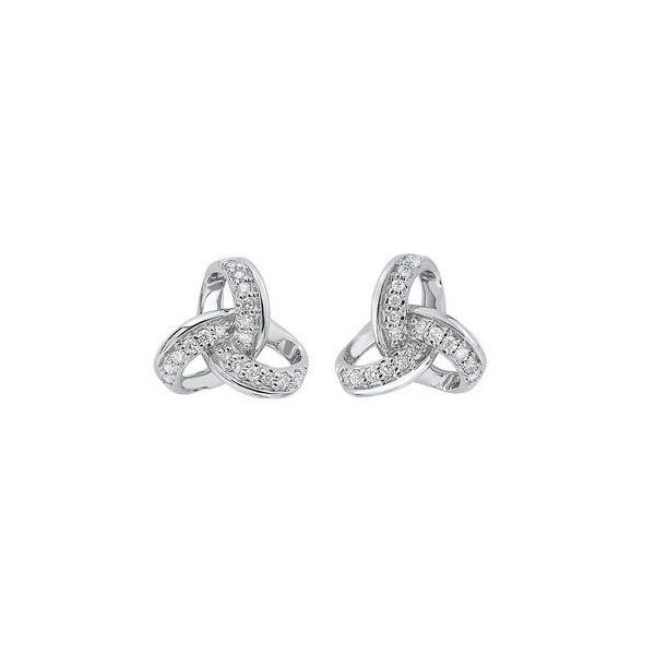 10 kt White Gold Diamond Knot Stud Earrings