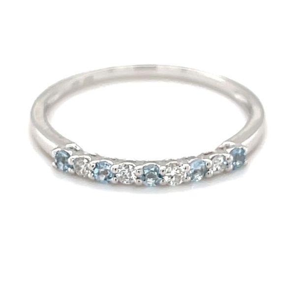 14 kt White Gold Diamond & Aquamarine Band