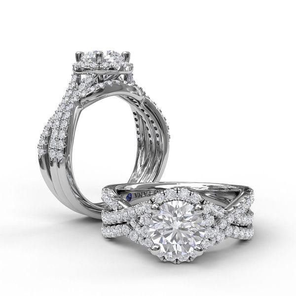 14 kt White Gold Round Halo Twist Band Engagement Ring