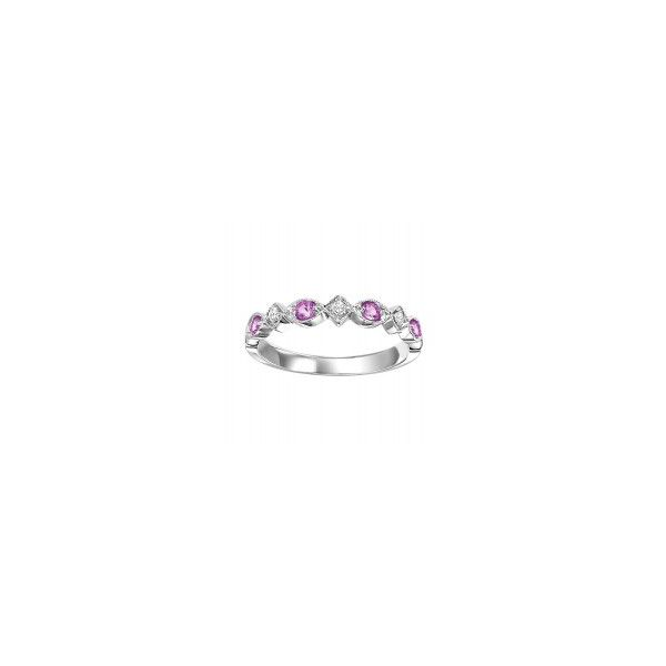 10 kt White Gold Pink Sapphire Stackable Ring