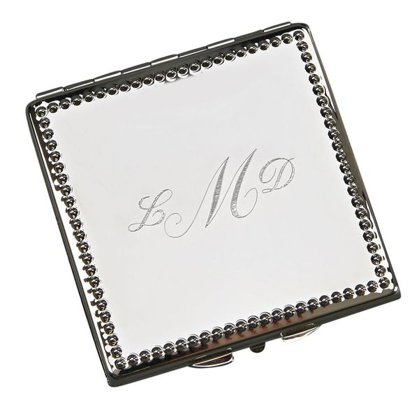 Silver-Plated Square Beaded Edge Compact Mirror