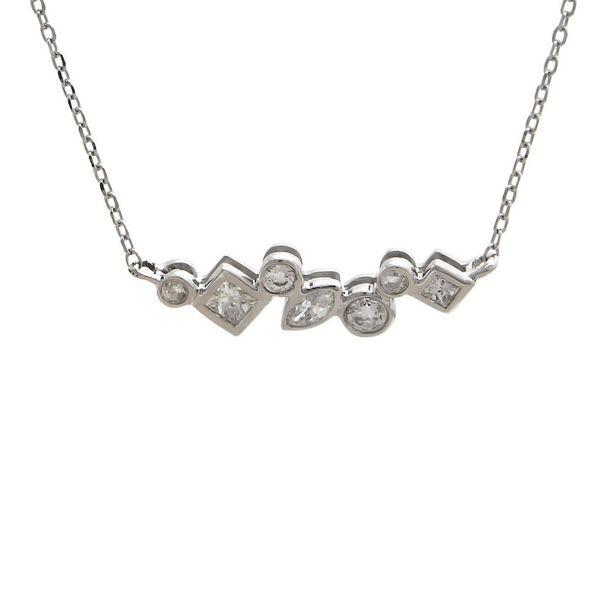 14K White Gold Multi-Shape Diamond Bar Pendant