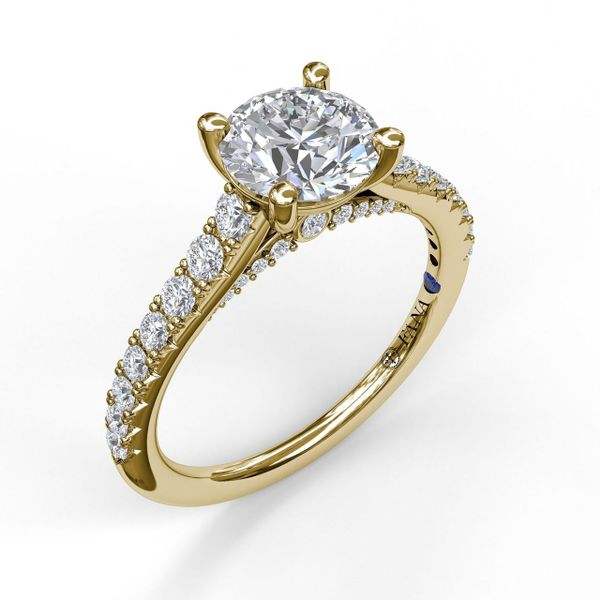 Yellow Gold Delicate Classic Engagement Ring with Delicate Side Detail