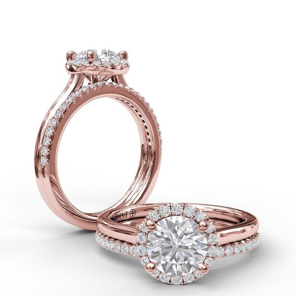 Rose Gold Classic Round Halo Engagement Ring