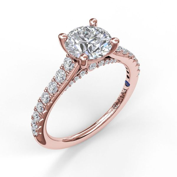 Rose Gold Delicate Classic Engagement Ring with Delicate Side Detail