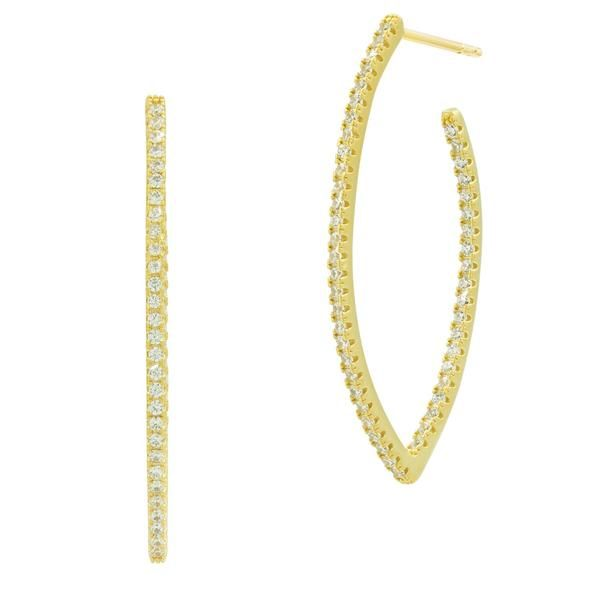 14K Gold Plated Pointed Oval Earrings