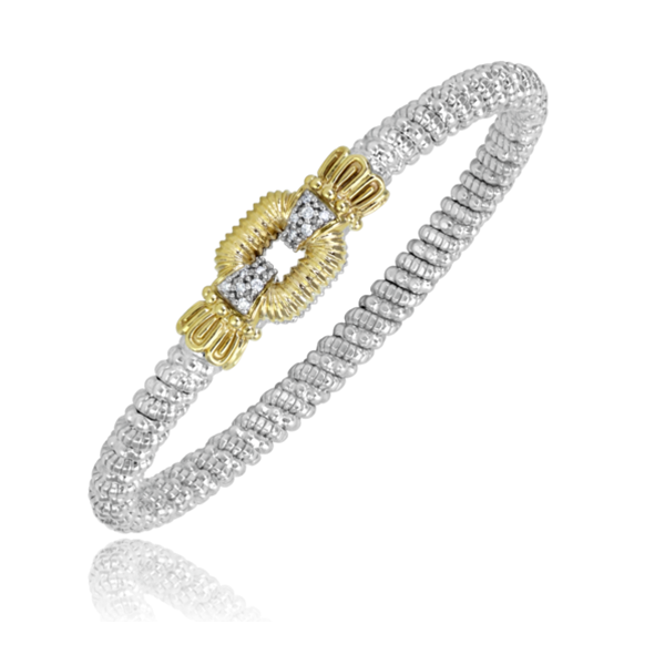 Sterling Silver and 14 kt Yellow Gold Bracelet  by Alwand Vahan with Diamond Accents