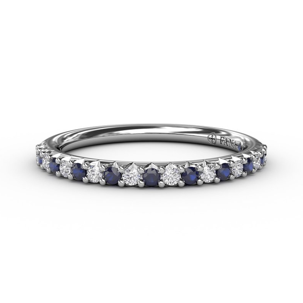 14 kt White Gold Sapphire and Diamond Band