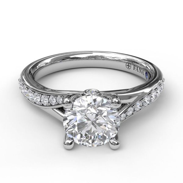 White Gold Designer Split Band Engagement Ring