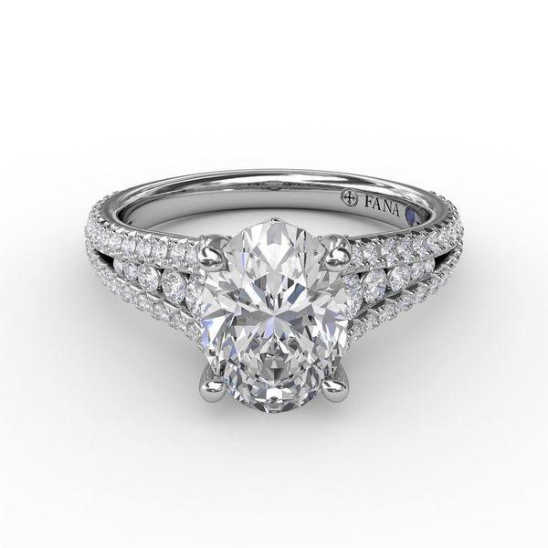 14K White Gold Oval Engagement Ring
