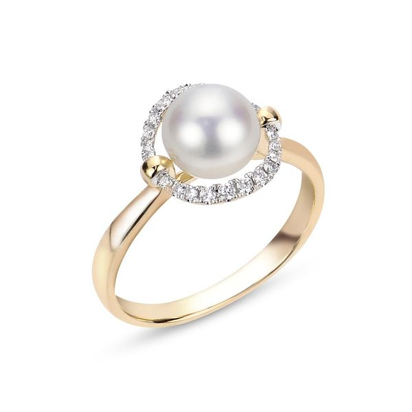 14 kt Yellow Gold Pearl and Diamond Ring