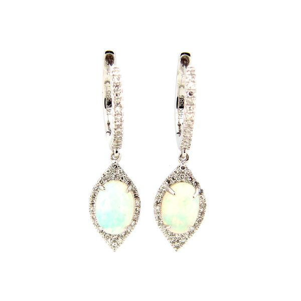 14 Kt White Gold Opal and Diamond Earrings