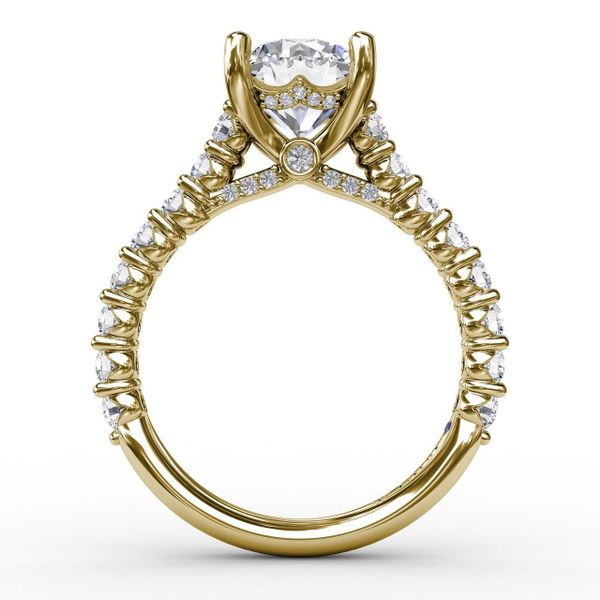 Yellow  Gold Hidden Halo Engagement Ring with Matching Band Available