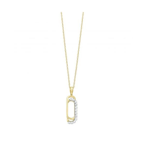 10 kt Yellow Gold Diamond paperclip Necklace