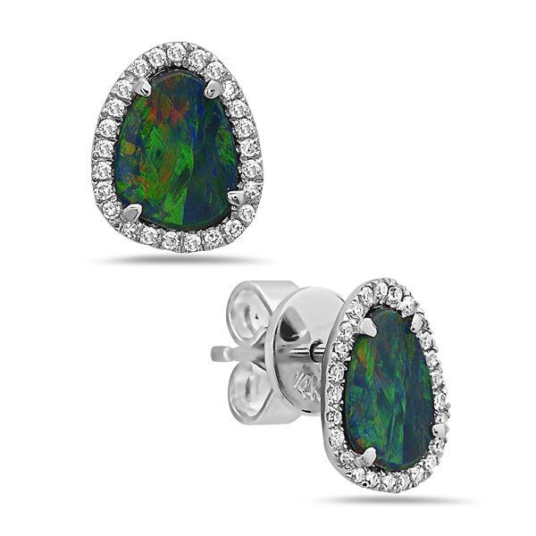 Black Opal & Diamond Earrings Parris Jewelers Hattiesburg, MS