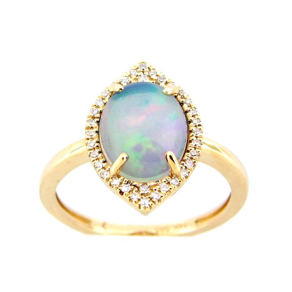 14 kt Yellow Gold Vintage Inspired Opal and Diamond Ring