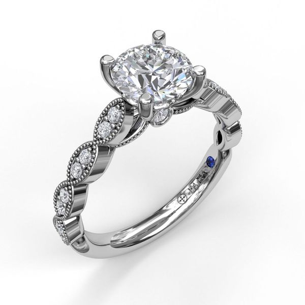 White Gold Vintage Inspired Engagement Ring with Matching Band Available
