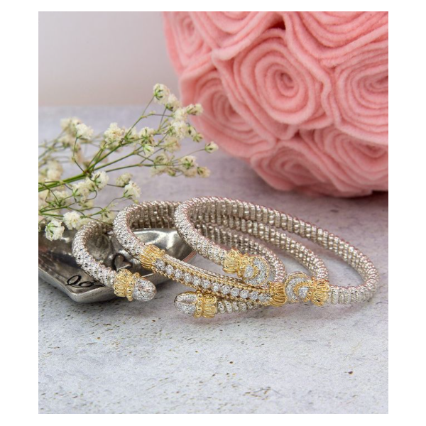 Sterling Silver and 14k Gold Diamond Bracelet Image 2 Parris Jewelers Hattiesburg, MS