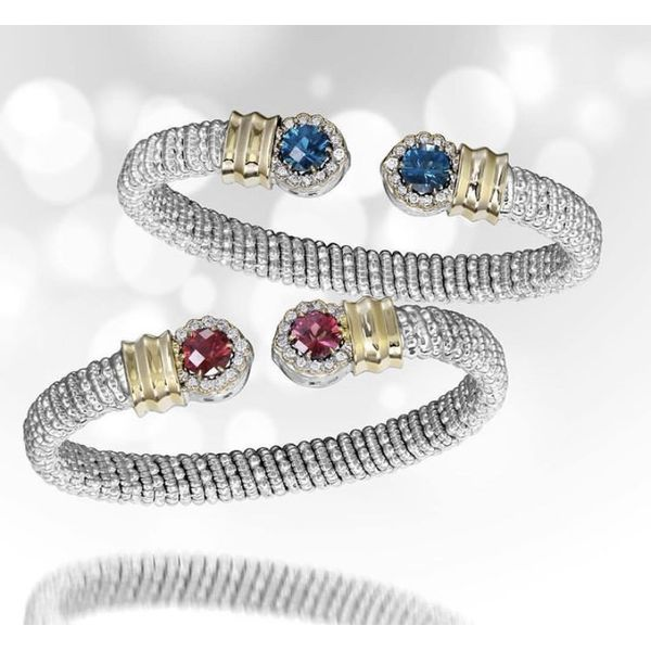 Sterling Silver and 14k Gold with Diamonds and Rhodolite Garnet Image 2 Parris Jewelers Hattiesburg, MS