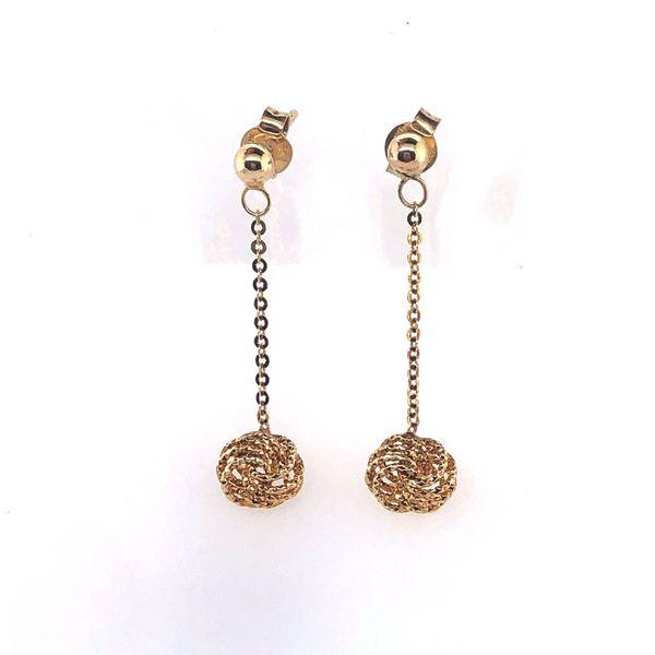 14 kt Yellow Gold Love Knot Dangle Earrings