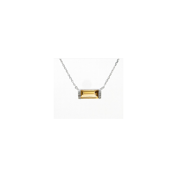 14 kt white gold citrine and diamond necklace