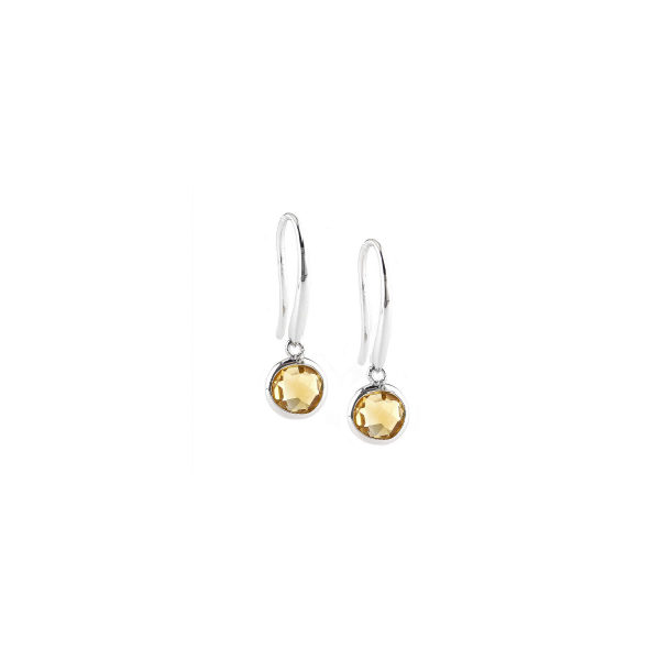 Sterling Silver Round Bezel Citrine Earrings (Silver Earrings) (Silver Citrine Earrings)
