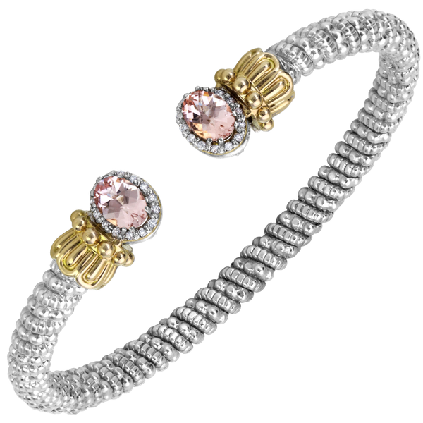 Sterling silver and 14 kt rose gold bracelet with diamonds and colored gemstone  by Vahan