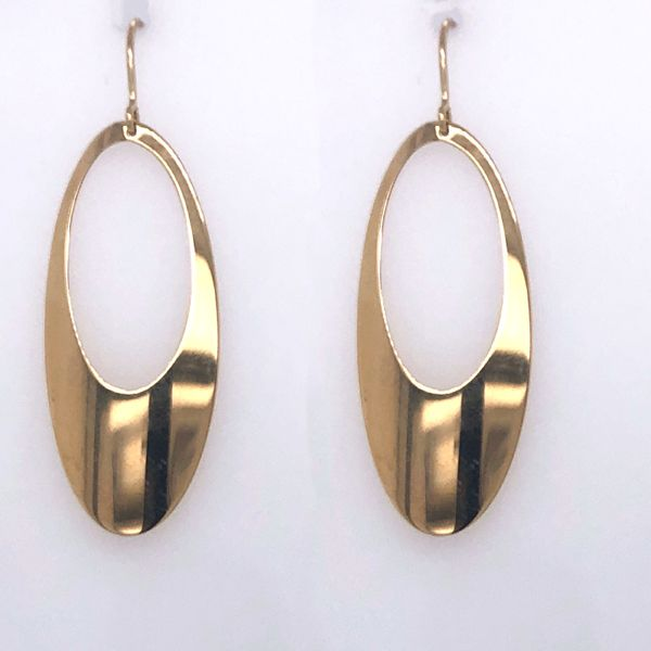 Gold Dangle Oval hoop Earrings