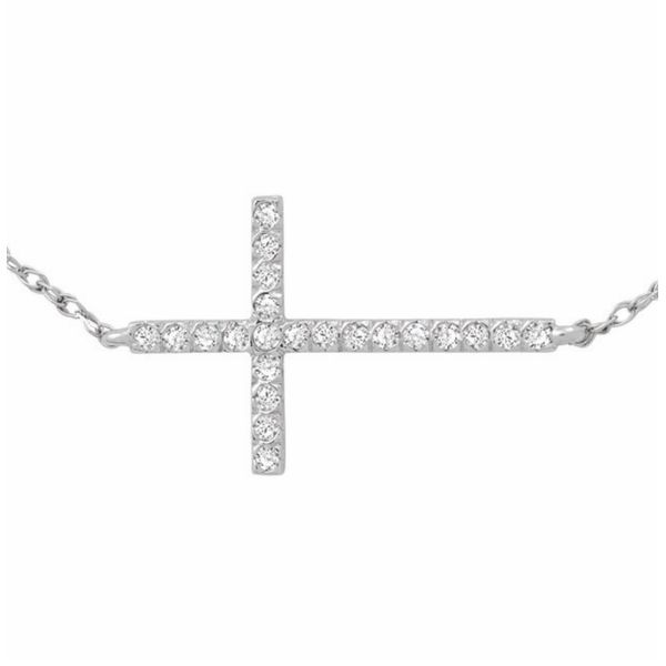 14 kt White Gold Sideways Diamond Cross