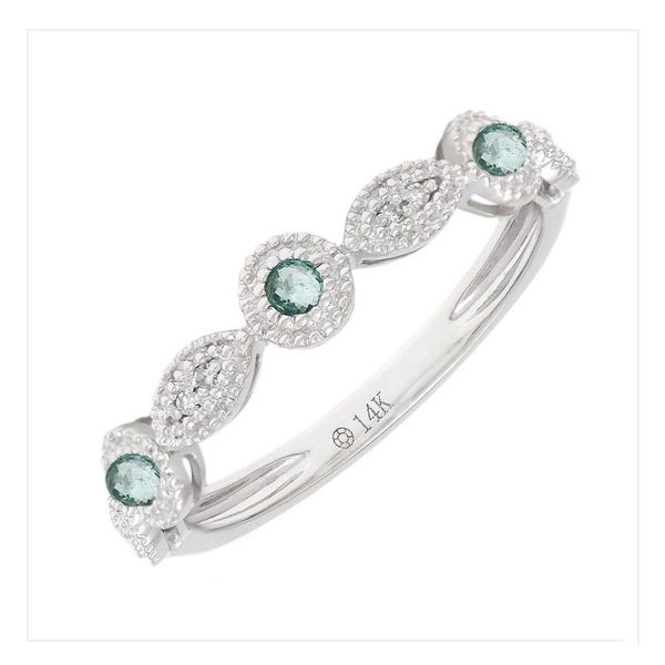 14 kt White Gold Emerald and Diamond Band