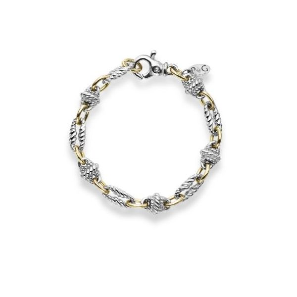 Sterling Silver with 18 kt Yellow Gold Accents Link Bracelet