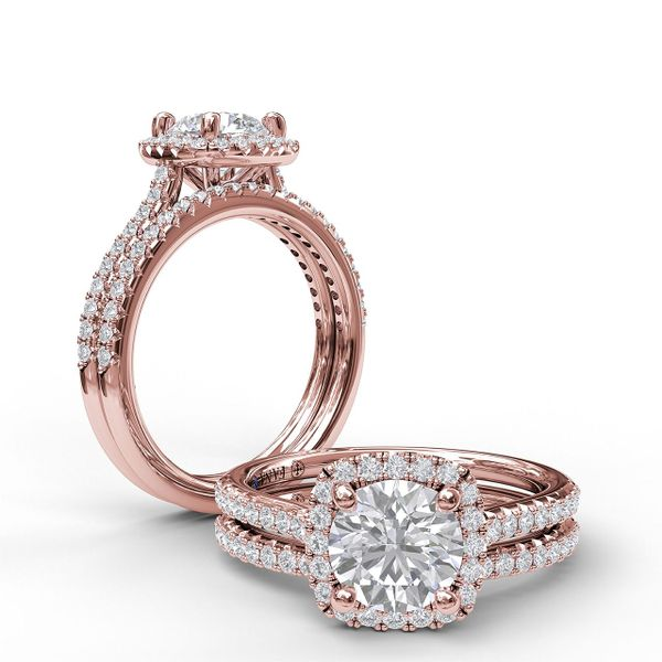 Rose Gold Delicate Cushion Halo Engagement Ring With Pave Shank