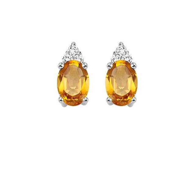 10 kt White Gold Citrine and Diamond Earrings