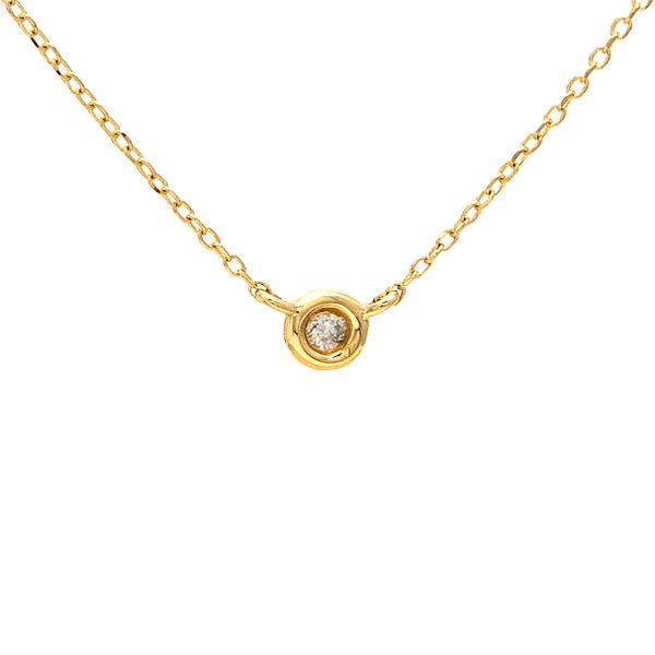 14 kt yellow gold bezel diamond necklace