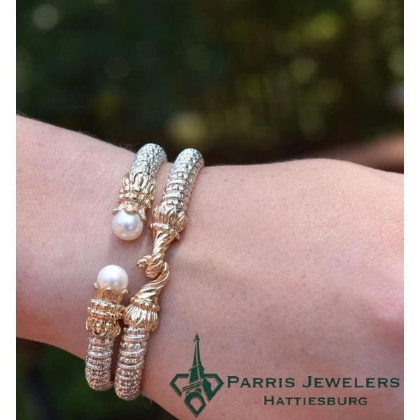 14 kt Gold and Sterling Silver Pearl Bracelet by Alwand Vahan