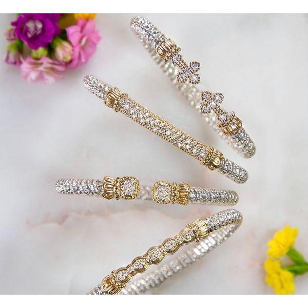 Sterling Silver &14kt Gold Bracelet- Cross Image 2 Parris Jewelers Hattiesburg, MS